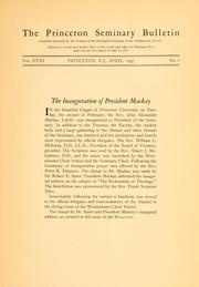 Cover of: The inauguration of President John A. Mackay