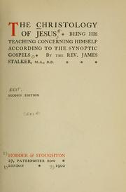 Cover of: The christology of Jesus