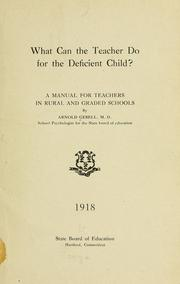 Cover of: What can the teacher do for the deficient child?