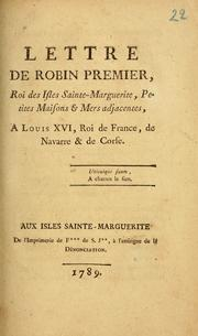 Cover of: Lettre de Robin Premier