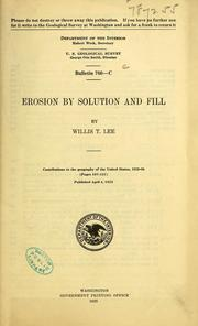 Cover of: Erosion by solution and fill