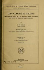 Cover of: Lung capacity of children