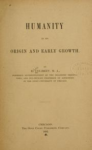 Cover of: Humanity in its origins and early growth