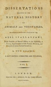 Cover of: Dissertations relative to the natural history of animals and vegetables