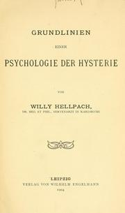 Cover of: Grundlinien einer Psychologie der Hysterie