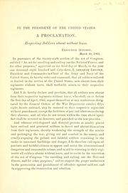 Cover of: A proclamation respecting soldiers absent without leave