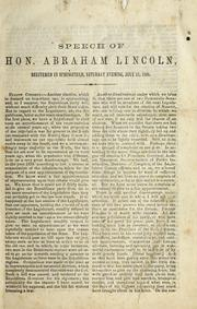 Cover of: Speech of Hon. Abraham Lincoln
