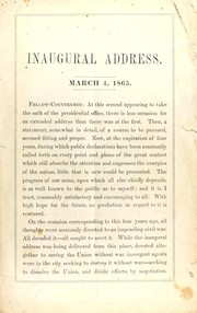 Cover of: Inaugural address, March 4, 1865