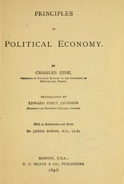 Cover of: Principles of political economy