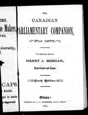 Cover of: The Canadian parliamentary companion for 1875
