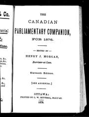 Cover of: The Canadian parliamentary companion for 1876