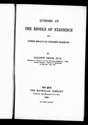 Cover of: Guesses at the riddle of existence