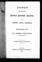 Cover of: Address delivered before the Provincial Agricultural Association