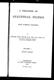Cover of: A treatise on analytical statics