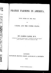 Cover of: Prairie farming in America