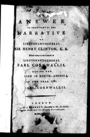 Cover of: An answer to that part of the narrative of Lieutenant-General Sir Henry Clinton, K.B.