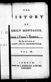 Cover of: The history of Emily Montague