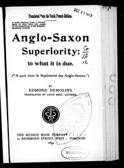 Cover of: Anglo-Saxon superiority