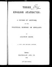 Cover of: Three English statesmen