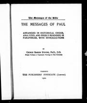 Cover of: The messages of Paul