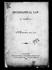 Cover of: Ecclesiastical law