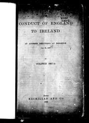 Cover of: The conduct of England to Ireland