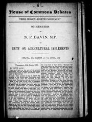 Cover of: Speeches of N.F. Davin, M.P. on duty on agricultural implements