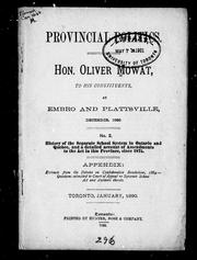 Cover of: Hon. Oliver Mowat to his constituents, at Embro and Plattsville, December, 1889