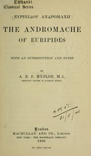 Cover of: The  Andromache of Euripides