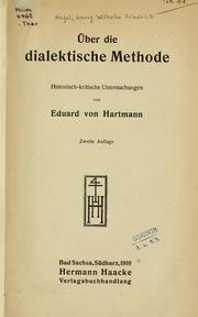 Cover of: Über die dialektische Methode