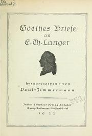 Cover of: Goethes Briefe an E.Th. Langer
