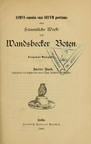 Cover of: Matthias Claudius Werke
