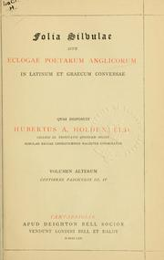 Cover of: Folia Silvulae