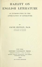 Cover of: Hazlitt on English literature