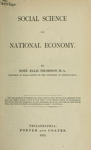 Cover of: Social science and national economy