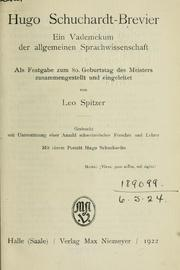 Cover of: Hugo Schuchardt-Brevier