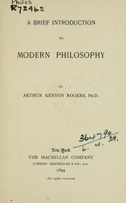 Cover of: A brief introduction of modern philosophy