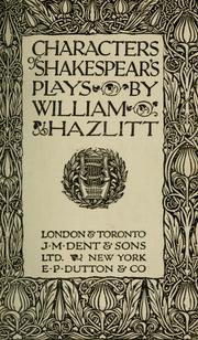 Cover of: Characters of Shakespeare's plays