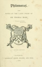 Cover of: Philomorus.  Notes on the Latin poems of Sir Thomas More