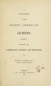 Cover of: Synopsis of the North American lichens