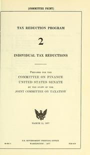Cover of: Individual tax reductions
