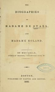 Cover of: The biographies of Madame de Staël