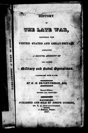 Cover of: History of the late war, between the United States and Great Britain