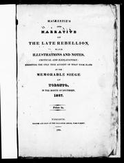 Cover of: Mackenzie's own narrative of the late rebellion