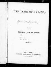Cover of: Ten years of my life