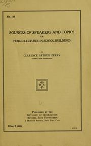 Cover of: Sources of speakers and topics for public lectures in school buildings