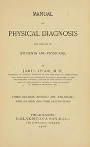Cover of: Manual of physical diagnosis