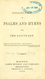 Cover of: A Collection of Psalms and hymns for the sanctuary