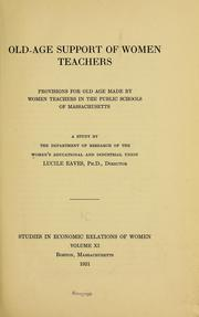 Cover of: Old-age support of women teachers