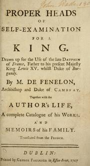 Cover of: Proper heads of self-examination for a king